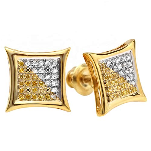 Dazzlingrock Collection 0.15 Carat (ctw) 10K White & Yellow Round Diamond Micro Stud Earrings, Yellow Gold