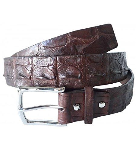 [Authentic River Crocodile Skin Men's Big Hornback Pin Belt 38