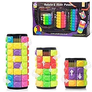 R.Y.TOYS Rubix Cube,Fidget Cube Toy,Magic Cube Puzzle,Brain Teasers for Adults,Cylinder Rotate&Slide Logic Restless Hand Toy,Trick Puzzle Game,Gift for Kids Child(8Colors:4Layers+6Layers+8Layers)