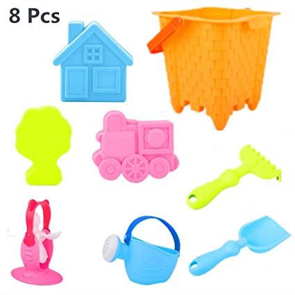 9864b29d58 YF-TOW Beach Sand Sandbox Toys Set, 8 Pcs Safety Material Soft Sand Molds