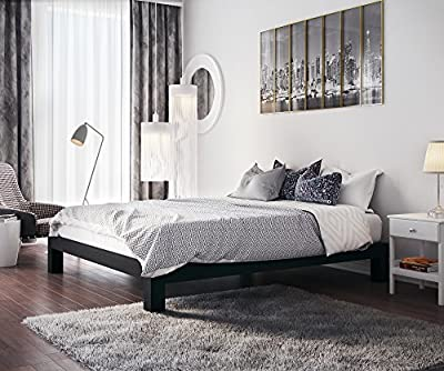 Stella Metal Platform Bed Frame - Modern, High Quality Finish - Thick and Wide Slats - Black