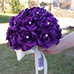 Purple-Roses-Bridal-Wedding-Bouquet-with-Ivory-Stain-Ribbon-Handle