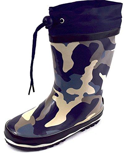 Kinder Gummistiefel Regenstiefel Camouflage blau