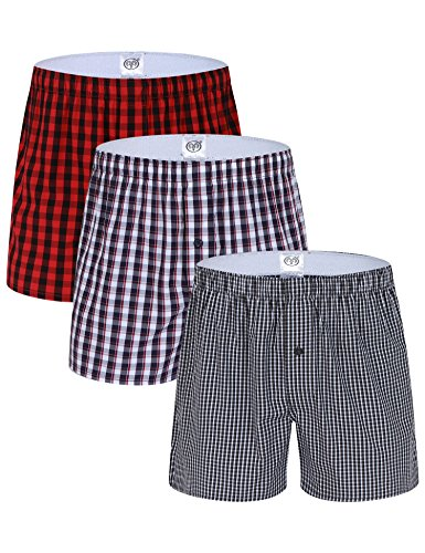 Button Fly Woven Boxers - Hawiton 1 & 3 PCS Mens Cotton Woven Boxers Button Fly Plaid Sleep Underwear Shorts
