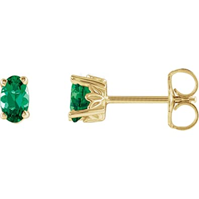 3c4f8b583 Amazon.com: Lab-Created Emerald 14k Yellow Gold Chatham Created Emerald  Earrings: Jewelry