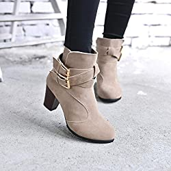 Ankle Boots Women,Hemlock Ladies Winter Dress Boots Zipper High Heels Martens Shoes (US:7.5, Khaki)