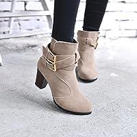Hemlock Ankle Boots Women, Ladies Winter Dress Boots Zipper High Heels Martens Shoes (US:9, Khaki)