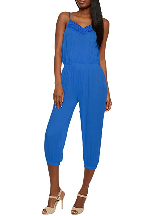 9a24788b10e Amazon.com  VamJump Womens Spaghetti Strap Lace Trim Chiffon Jumsuit  Rompers Outfit  Clothing