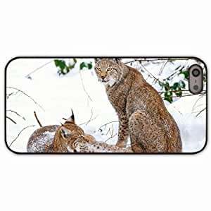 iPhone 5 5S Black Hardshell Case lynx snow branches Desin Images Protector Back Cover