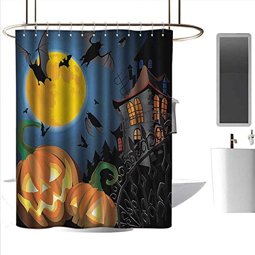 homehot Shower Curtains Fabric Zen Halloween,Gothic Halloween Haunted House Party Theme Design Trick or Treat for Kids Print,Multicolor,W55 x L84,Shower Curtain for -