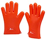 Kuhlz Ultra Heat Resistant Silicone Oven and Grilling Gloves (Red Blaze)