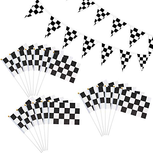 LovesTown 32.8ft Checkered Black White Pennant Banner Racing