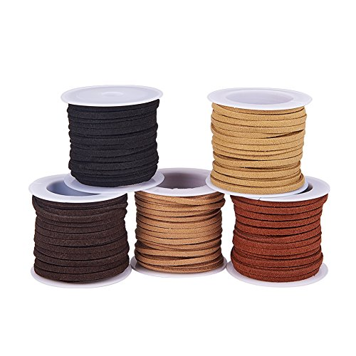 PandaHall Elite 5 Rolls 3mm Flat Micro Fiber Faux Leather Suede Cords Lace Velvet Beading String 5.5 Yard per Pack for Jewelry Making 5 Colors