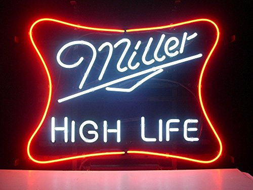 High Life Real Glass Neon Light Sign Home Beer Bar Pub Recreation Room Game Room Windows Garage Wall Sign 18''x14'' ML05 ()