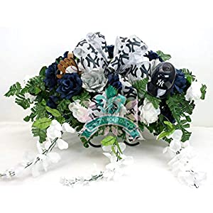 New York Yankee's White,Navy Roses with White Wisteria Cemetery Tombstone Saddle Arrangement 11