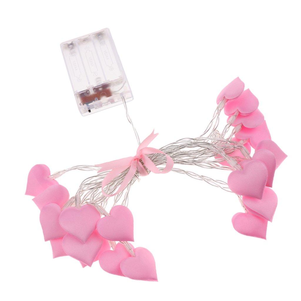 B Blesiya 10/20 LEDs Wire Romantic Heart Fairy String Light Xmas Party Lamp Battery Power - Pink, 150cm