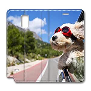 Brian114 Samsung Galaxy Note 4 Case, Note 4 Case - Protective Note 4 Leather Case Cute Dog With Sunglass Customized Pattern Samsung Galaxy Note 4 Leather Case