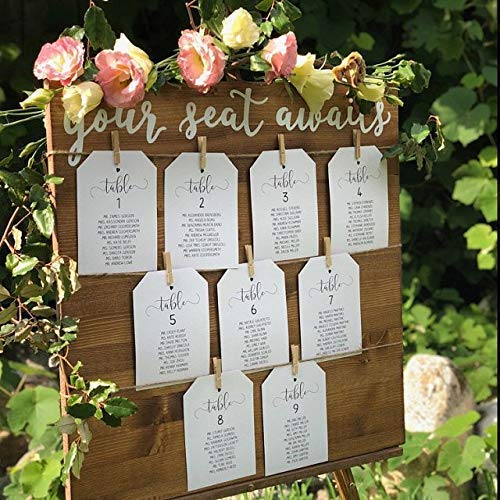 Wedding seating chart sign with twine and clothespins, escort card sign, find your seat, be our guest, your seat awaits ()