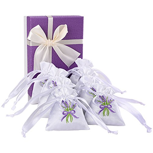MISSYOUNG 8-Pack 100% Natural Lavender Scented Sachets Gift Box Air Purifying, Moth Repellent, Stress Relief, Best Gift Birthday, Wedding, Valentine's, Mother's Day, Thanksgiving, Christmas ()