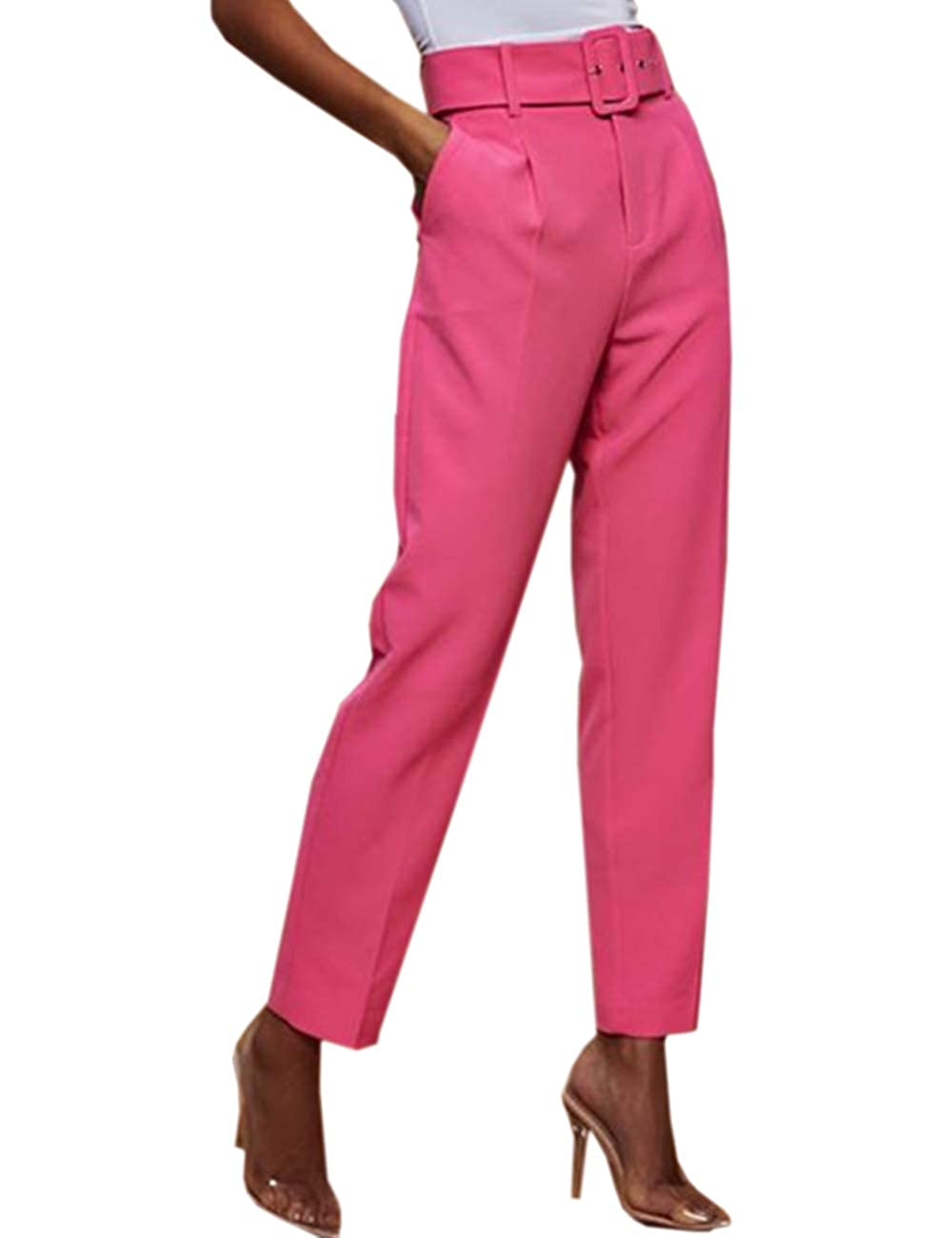 60s – 70s Pants, Jeans, Hippie, Bell Bottoms, Jumpsuits SOMTHRON Womens High Rise Belted Slim Fit Cigarette Pants High Waist Long Straight Tapered Leggings Pants with Belt $21.99 AT vintagedancer.com