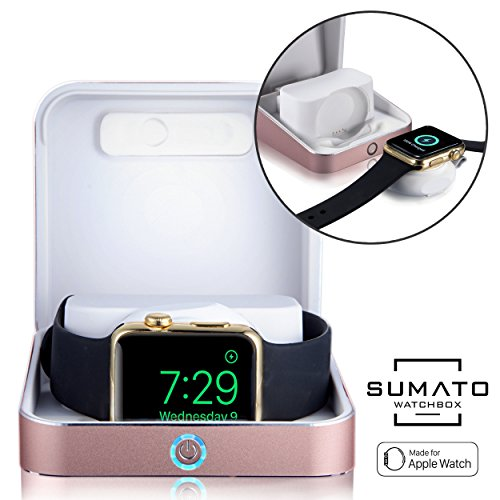 Price comparison product image 5-in-1 Apple Watch charger - [NEW] SUMATO WATCHBOX Charging Station for Apple Watch Band 42mm 38mm + 5000mAh Power Bank, Charging cable, Keychain Travel Charger, Apple Watch Series 2 3 1 (Rose Gold)