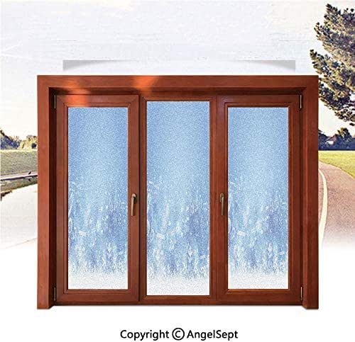 3D Printed Non Adhesive Home Office Window Film,Music Inspired Winter Imagery Notes and Snowflakes Illustration Seasonal Image Print Decorative 17.7