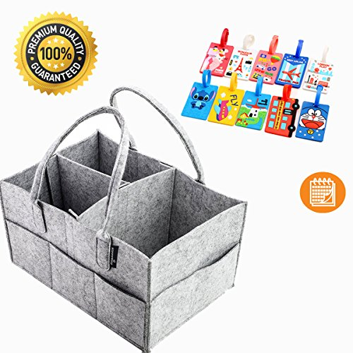 Happy Baby Premium Diaper Caddy   Organizer for Diapers and Baby Wipes, Changing Table   Nursery Storage Bin & Portable Car Organizer Basket   1Color Luggage Label with baby Ebook & Ecalendar