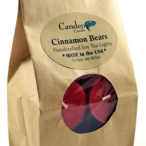 Cinnamon Tealight Candles - Cinnamon Bear, Holiday Scented Soy Tealights, 12 Pack Clear Cup Christmas Candles