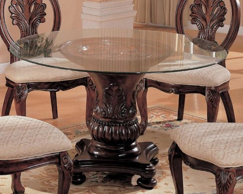 Amazoncom Pedestal Dining Table With Glass Top Cherry Finish Tables