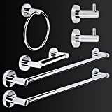 "LUCKUP 6 Piece Bathroom Accessory Set, Towel Bar Accessory Set, Includes 2 x 24""Towel Bar, 2 x Robe Hook, 6.6""Towel Ring, and 7""Toilet Paper Holder, 304 Stainless Steel Wall Mounted,Polished Chrome"