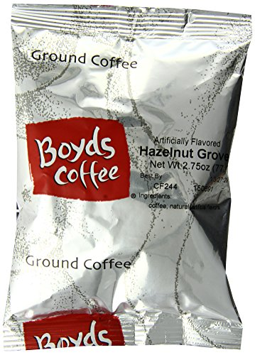 Boyd's Coffee Hazelnut Grovee Flavored Ground Medium Roast Coffee, 2.75-Ounce Portion Packs (Pack of 46) -