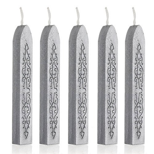 5pcs Traditional Postable Decor Sealing Wax Stick Invitations Envelope Letter (Silver Sealing Wax)