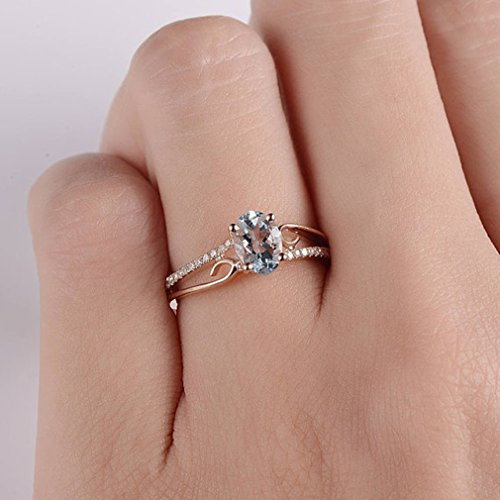 Weiy Cubic Zirconia Antique Ring Stunning Shining Ring Engagement Wedding Band Ring for Bridal,Rose Gold 9#
