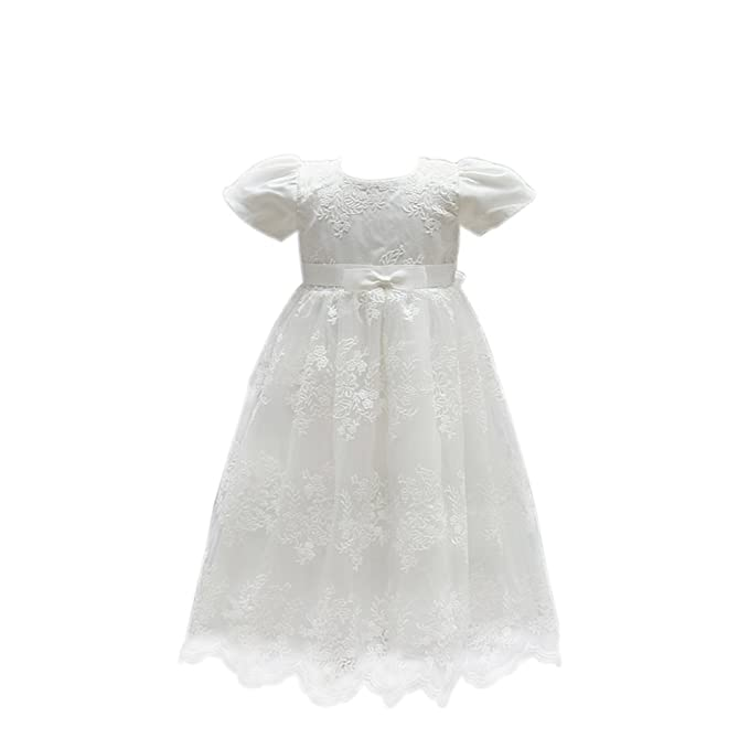 10e41dd27 Selene Ivory Embroidery Lace Christening Gown Baby Girls Formal Wedding  Birthday Party Bridesmaid Dress Baby Baptism Gown: Amazon.co.uk: Clothing