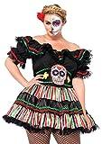 Leg Avenue Women's Plus-Size 2 Piece Day Of The Dead Doll Costume, Black/Multi-Colored, 1X/2X