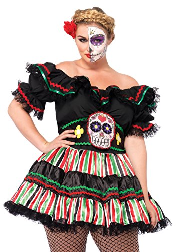 Day Of The Dead Costumes 2016 (Leg Avenue Women's Plus-Size 2 Piece Day Of The Dead Doll Costume, Black/Multi-Colored, 1X/2X)