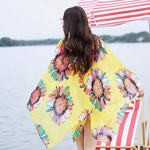 Sexy Cardigan Top Cover Giallo Kimono Donna Moda Cardigan Di spiaggia Camicetta Floreale Stampato Up Amlaiworld Orlo Irregolare pqw8zq