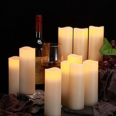 comenzar Flameless Candles, Battery Candles Real Wax Pillar Candles Set of 12?D2.2 x H6? led Candles with Remote Timer(Batteries not Included)