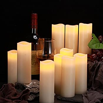 "Comenzar Flameless Candles, Battery Operated 6"" Candles Set Of 12(d2.2 X H6 Pillar Real Wax Led Candles With Remote Timer By (Ivory) 1"