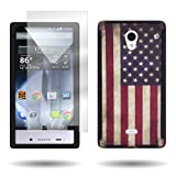 cover cases for sharp aquos - Sharp Aquos Crystal Hybrid Case and Screen Protector with (American Flag) Unique Design CoverON Tough Ultra Slim Protective Phone Cover for Sharp Aquos Crystal 306SH