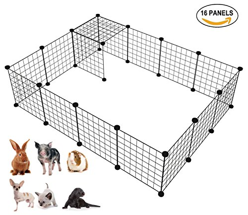 LANGXUN 16pcs Metal Wire Storage Cubes Organizer, DIY Small Animal Cage for Rabbit, Guinea Pigs, Puppy | Pet Products Portable Metal Wire Yard Fence (Black, 16 Panels) ()