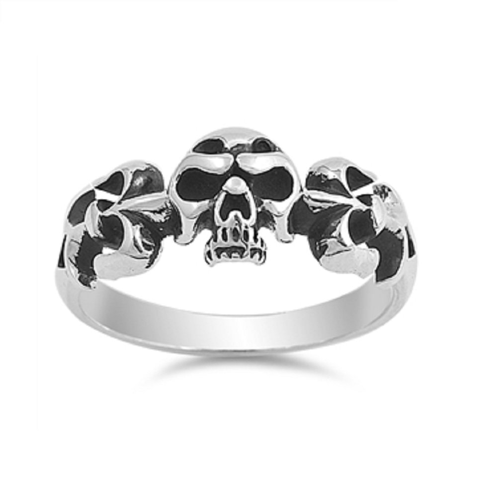CloseoutWarehouse Sterling Silver Fleur De Lis Skull Biker Ring Size 10