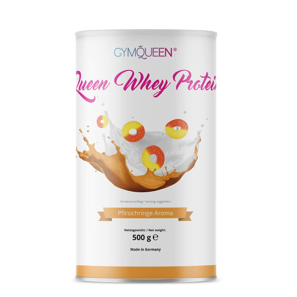 GymQueen Proteína de Whey - Proteína de suero de leche concentrada e aislada, Aros de melocotón, 500 gr.: Amazon.es: Alimentación y bebidas