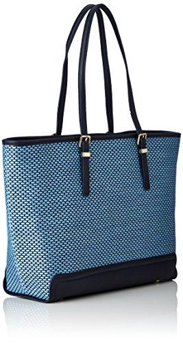 Tommy Hilfiger Honey Ew Tote Woven Raffia - Borse Donna, Blau (Woven Raffia), 13x32x48 cm (L x H D)
