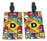 Letter D Monogram Vibrant Colors Stained Glass Design Design Plastic Flexi Luggage Identifier Tags + Strap Closure