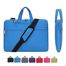 Laptop Case, Laptop Shoulder Bag, CROMI 14 14.1 Inch Simplicity Slim Briefcase Commuter Bag Business Sleeve Carrying Handle Bag Nylon Waterproof Notebook Shoulder Messenger Bag (Blue)