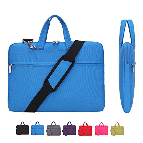 11.6 Inch Laptop Case, Laptop Shoulder Bag, CROMI Simplicity Slim Lightweight Briefcase Commuter Bag Business Sleeve Carry Hand Bag Nylon Waterproof Notebook Shoulder Messenger Bag (Blue, 11.6 inch)