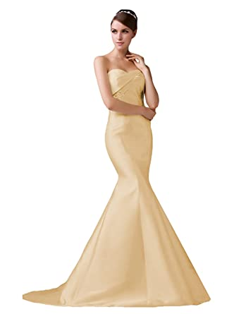 495b623f329 JOYNO BRIDE Women s Sweetheart Appliques Mermaid Wedding Dress Long ...