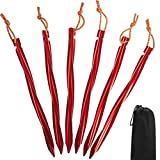 7001 Aluminum Tent Stakes,Cyclone Shape Tent Pegs with Reflective Pull Cords & Pouch-6 Pack