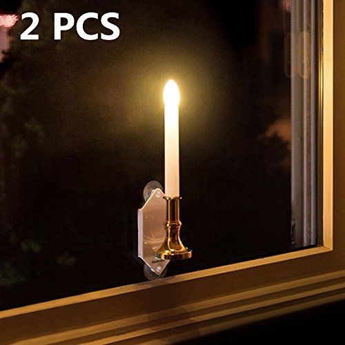 Leoie Solar Romantic Flameless LED Candle Light Wall Lamp with Suction Cupfor Outdoor Wall Window Fence Decor & Festival Decoration (2Pcs)